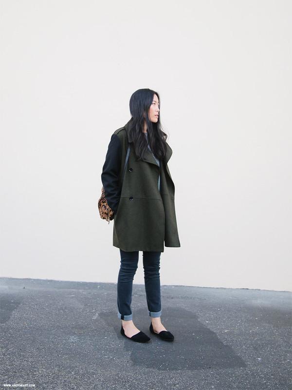 andy heart coat bag sweater jeans shoes masculine coat cuffed jeans blue jeans denim grey coat backpack black flats flats