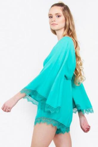 romper green teal bell sleeves bikiniluxe