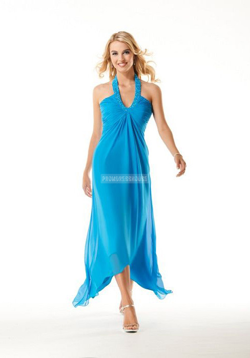 Halter Tea Length Chiffon A-line Beading Summer Evening Dress - Promdresshouse.com