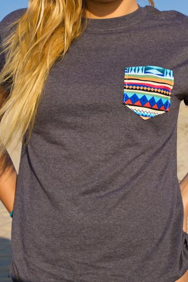 t-shirt tribal pattern fashion girly shirt grey gray top short sleeves front pockets multicolor cool pattern
