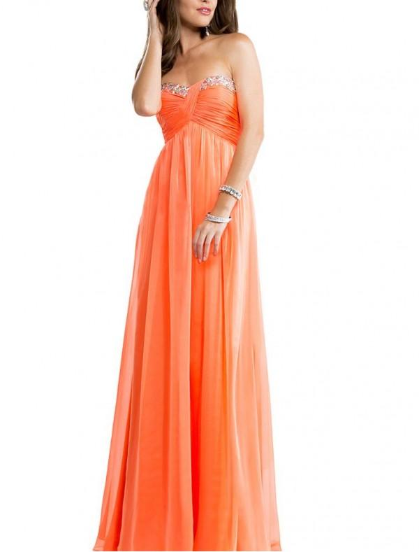 Chiffon Sweetheart Sheath Prom Dress with Beaded Embellishment - Special Occasion - RainingBlossoms