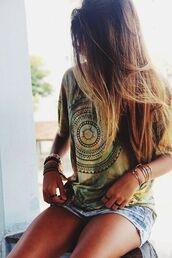 t-shirt,tie dye,jacket,shirt,hippie,green,yellow,jewels,hipster,boho,design,boho shirt,hippie shirt,mandala,top,surf,tie dye shirt
