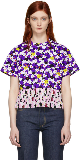 t-shirt shirt pleated floral multicolor top