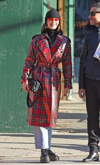 coat trench coat plaid bella hadid model off-duty streetstyle sunglasses beanie