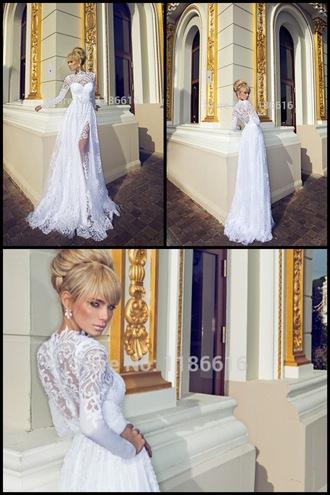dress lace prom white slit pretty sexy classy long sleeves polo shirt back lace dress prom dress