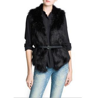 jacket black vest fur vest black winter jacket coat fur fur collar coat wool wool coat belt faux fur jacket