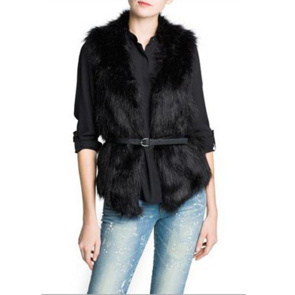 black wool jacket black vest fur vest winter jacket coat fur fur collar coat wool coat Belt faux fur jacket