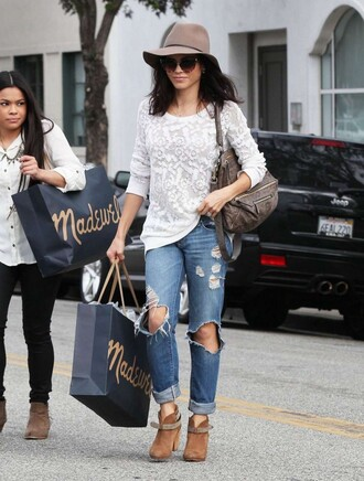 hat jenna dewan jeans ripped jeans fall outfits boots ankle boots bag shoes