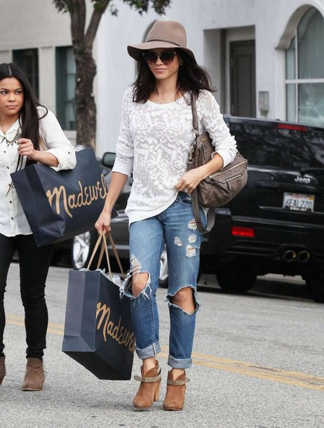 Shoes Hat Jenna Dewan Jeans Ripped Jeans Fall Outfits