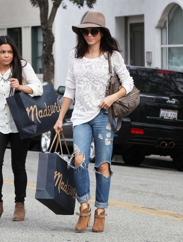 7236801dc47a hat jenna dewan jeans ripped jeans fall outfits boots ankle boots bag shoes.
