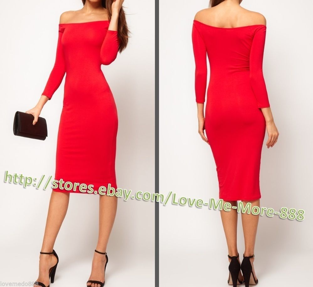 XS XXL Womens Off Shoulder Long Sleeve Casual Club Wear MIDI Dress Bodycon Red | eBay