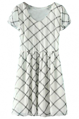 dress fashion demure plaid dress mini dress cap sleeves