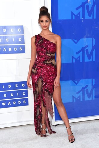 dress sandals slit dress gown prom dress one shoulder vma long prom dress shoes giuseppe zanotti mesh taylor hill model celebrity moshino red dress sequin dress mesh dress asymmetrical asymmetrical dress maxi dress sandal heels high heel sandals black sandals strappy sandals