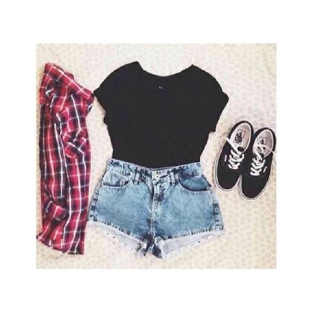 jeans jacket shirt shoes shorts t-shirt black