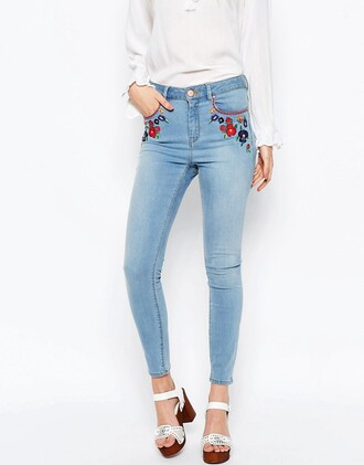 jeans denim asos pants embroidered jeans embroidered