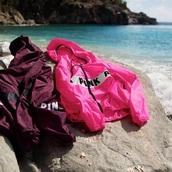 jacket,hair accessory,pink by victorias secret,windbreaker,pink,burgundy,both