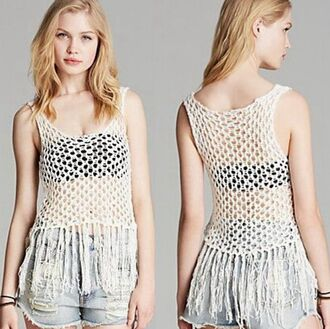 tank top trendy blogger fashion events clothes hipster urban girly boho bohemian top crop tops crop cropped beach lace up sexy summer oufits white tank top see through sunglasses summer outfits beach dress cover up
