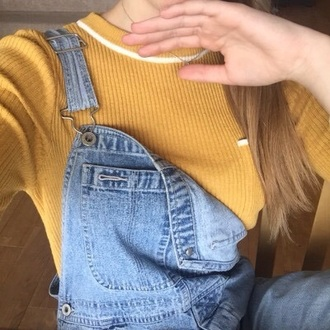 shirt long sleeves sweater nice yellow hilfilger tommy hilfilger sweat crewneck top mustard pockets knitwear jumper tight t-shirt tumblr clothes aesthetic tumblr dungarees overalls denim overalls
