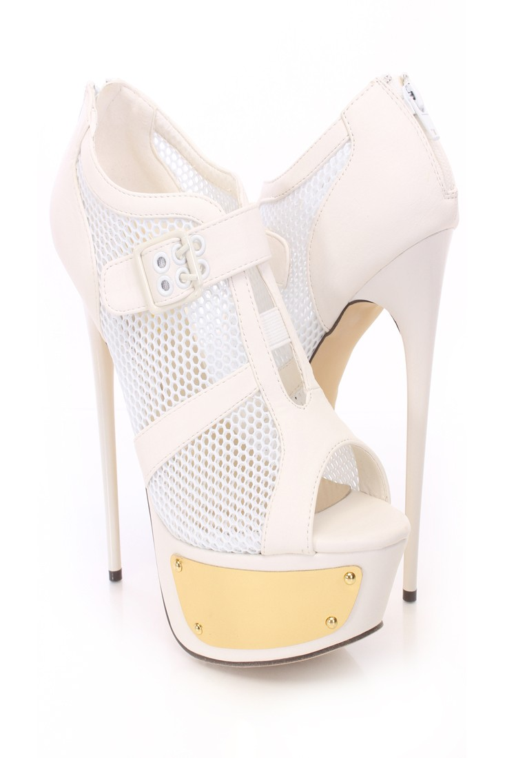White Netted Platform Booties Faux Leather