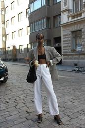pants,pantsw,wide-leg pants,white pants,crop tops,blazer,bag,shoes