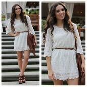 dress,woven belt,white lace dress,fringed bag