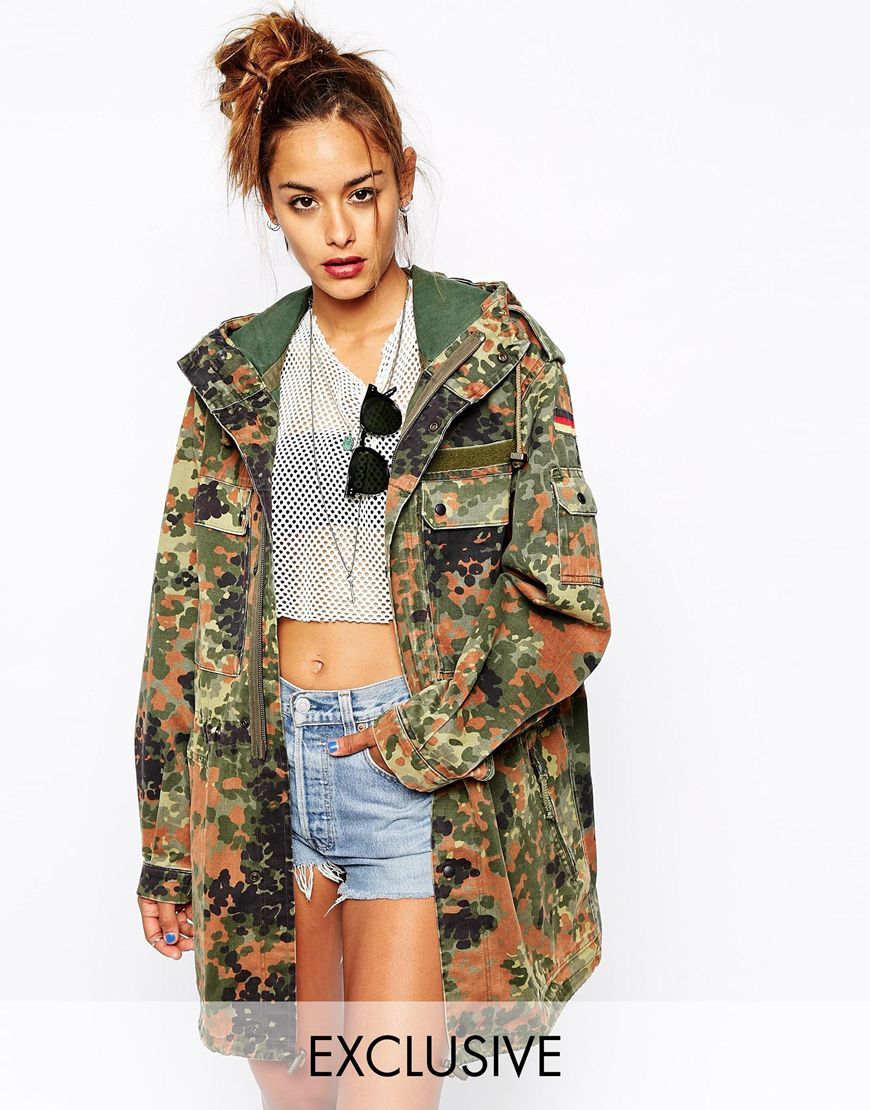 milk it vintage camo hooded parka coat at. Black Bedroom Furniture Sets. Home Design Ideas