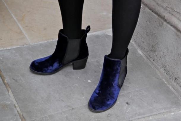 blue shoes velvet shoes blue shoes