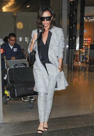 shoes victoria beckham bag black sunglasses pants coat blouse sunglasses black shoulder bag