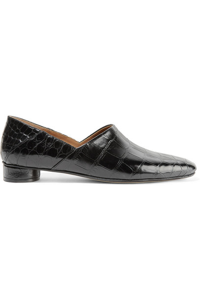 The Row Noelle Alligator Loafers in black