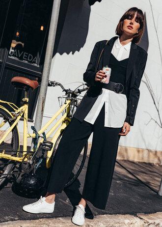 jacket tumblr blazer black blazer shirt white shirt pants black pants sneakers white sneakers belt top