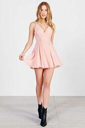 dress,pink dress,pink,mini dress,skater dress,plunge v neck,deep v neck sweater,v neck dress,short dress,lightpink,short