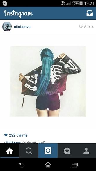 jacket noir cuir skull squelette instagram