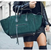bag,emerald green,suede,leather