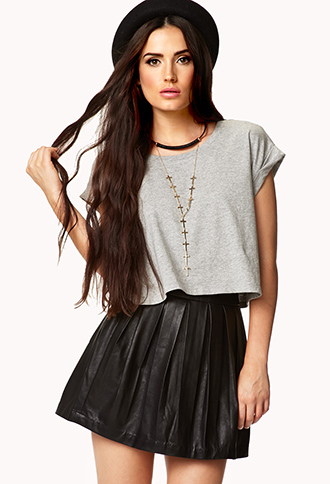 Rolled Sleeve Cropped Tee   FOREVER 21 - 2076965399