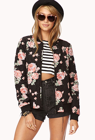 Wild rose quilted bomber jacket
