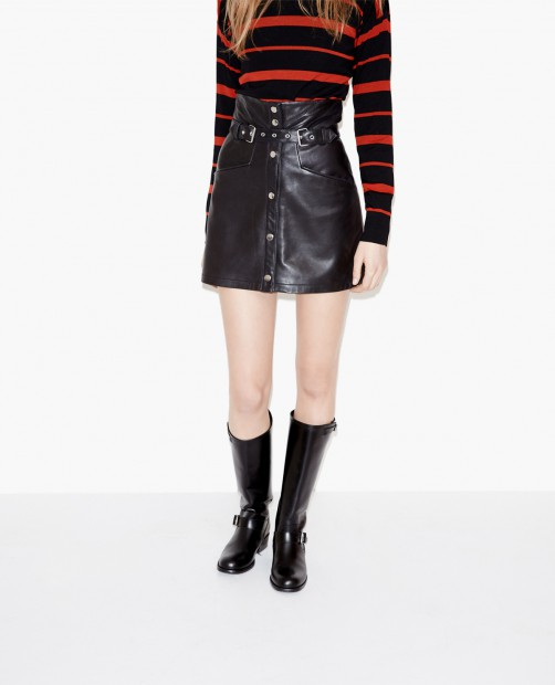 waisted leather skirt - The Kooples