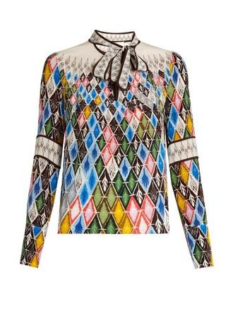 blouse print silk top