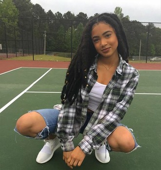 jeans syddpink syd tha kid fine ass plaid flannels white crop tops big hole jeans faux locs atlantla living sneakers freckle face posted up ig famous promos stylish model indeed $$$$