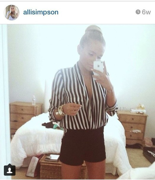 blouse black & white striped