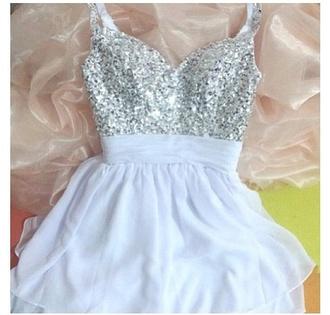 dress sparkle white dress girly glitter dress cute