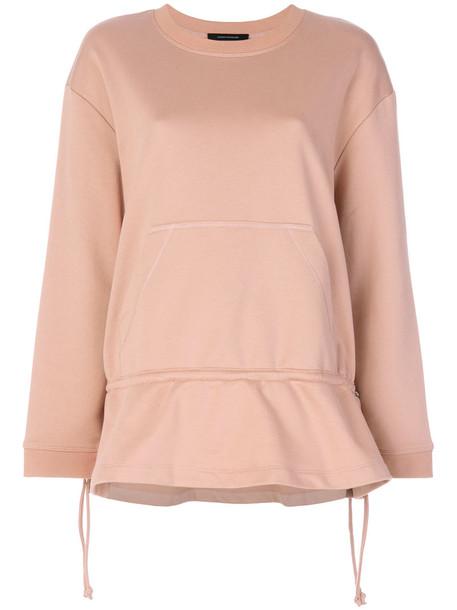 Cédric Charlier - peplum hoodie - women - Cotton - 40, Pink/Purple, Cotton