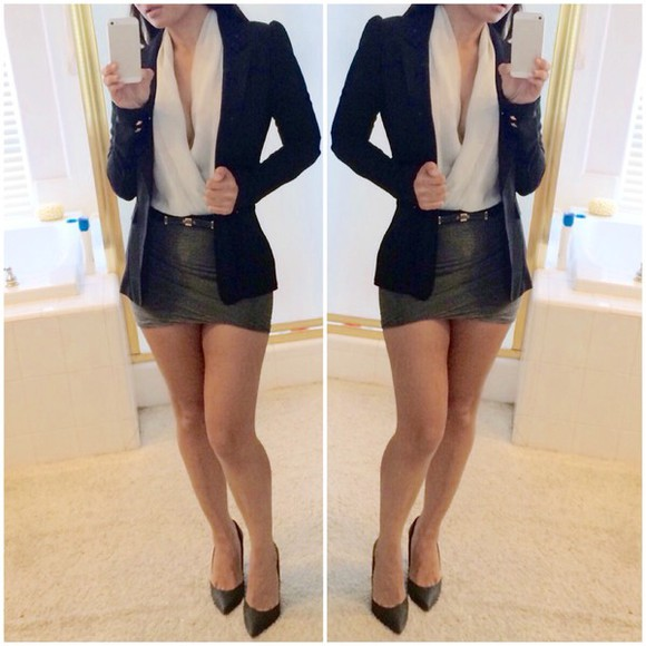 jacket green dress blogger style skirt blouse blazer outfit Belt black high-low dresses office dress shorts