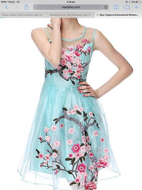 blue cherry blossom summer dress wheretoget