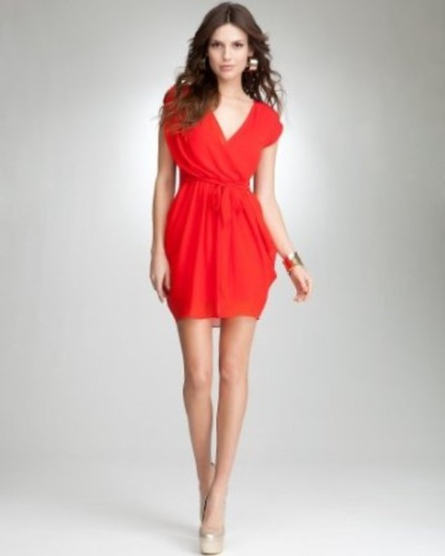 red dress v-neck high heels nude