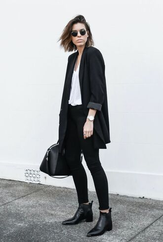 coat white top lather boots chelsea rigid bag leather slim pants all black everything