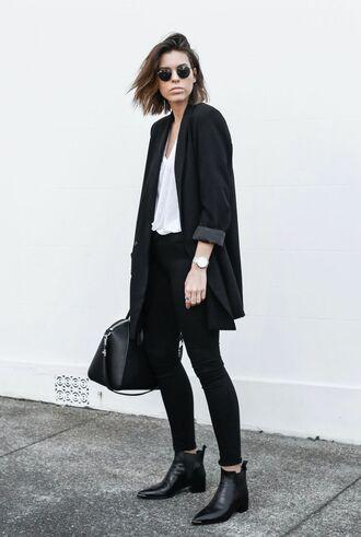 coat jacket white top lather boots chelsea rigid bag leather slim pants