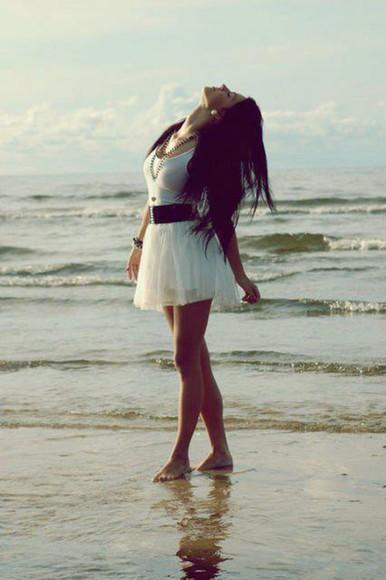 skirt mini skirt flowy skirt ballet skirt white skirt black belt jewels