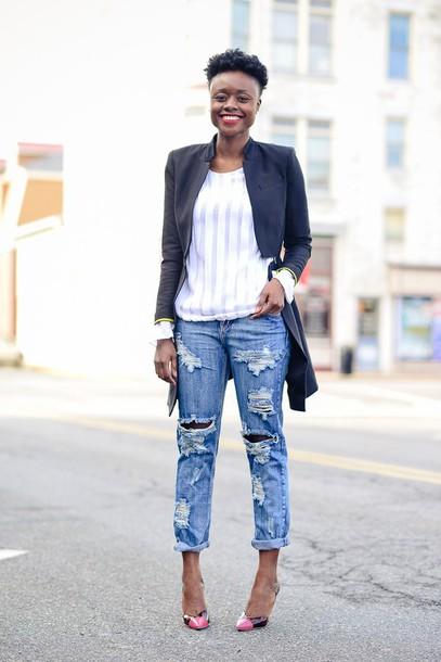skinny hipster blogger top blazer ripped jeans make-up jacket jeans