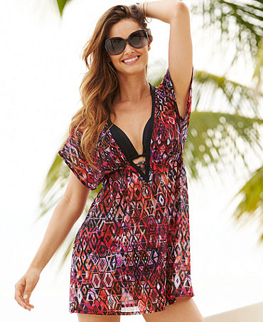 Profile by Gottex Aztec-Print Mesh Tunic Cover Up - Swimwear - Women - Macy's