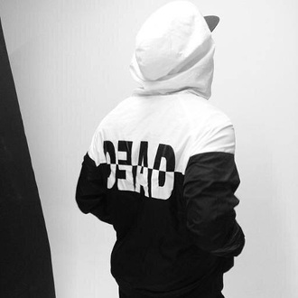 sweater black white street goth health goth hoodie jacket sports jacket black and white jacket windbreaker